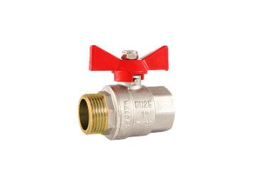 Кран RSk,шаровый HB  для воды, полнопроходной, красная ручка. 1/2″