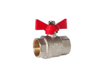 Кран RSk,шаровый с воздухоотводчиком красная ручка 1/2″